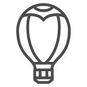 Hot air balloon line icon, Balloons festival concept, Aerostat sign on white background, Balloon icon in outline style for mobile concept and web design. Vector graphics