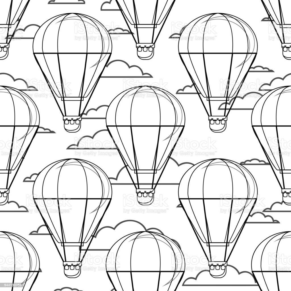 Hot Air Balloon Ballons Nuages Esquisse De Dessin Animé Noir