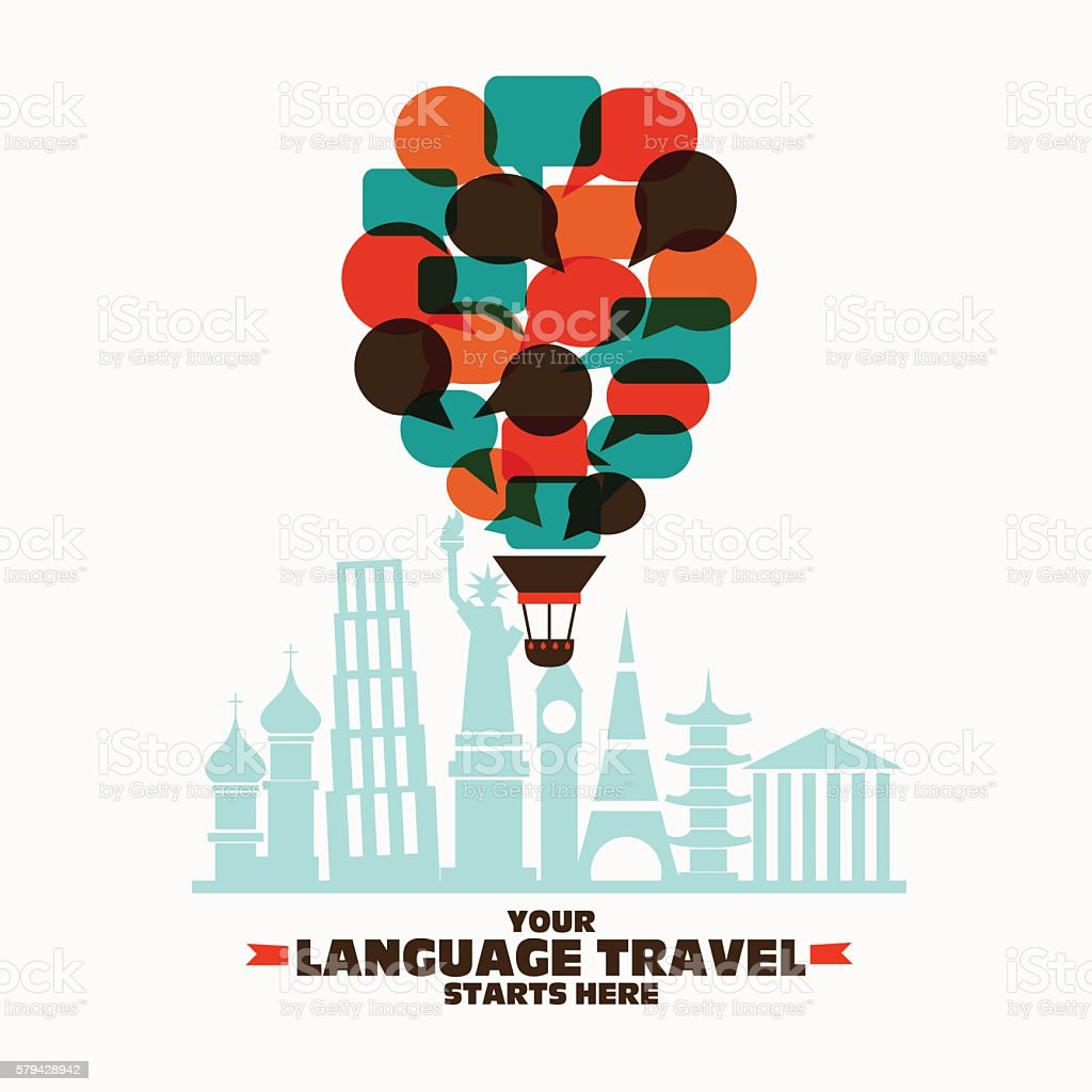 Hot air balloon made of speech bubbles over famous monuments - Illustration vectorielle