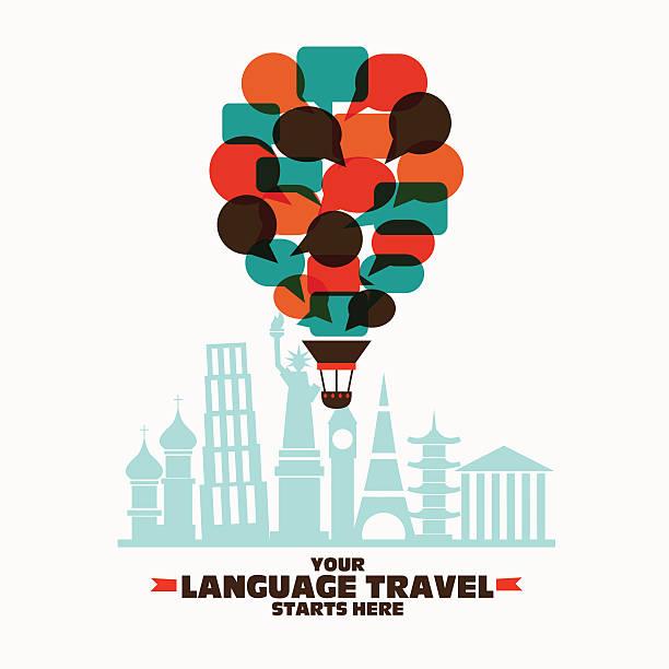 illustrations, cliparts, dessins animés et icônes de hot air balloon made of speech bubbles over famous monuments - cours de langue