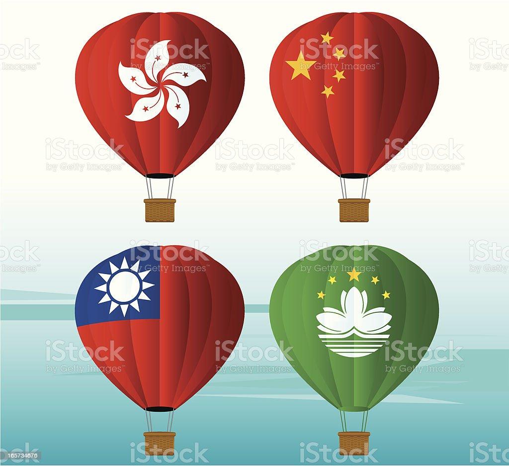 Hot Air Balloon National Flag royalty-free stock vector art