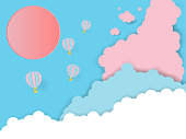 Hot air balloon paper art concept with pastel cloud background,vector art and illustration
