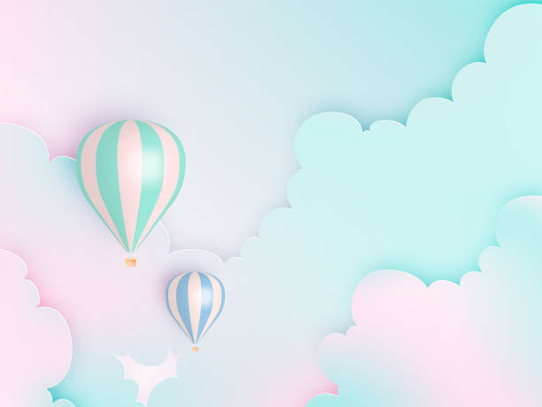 hot air balloon paper art style with pastel sky backgroun - hot air balloon stock illustrations