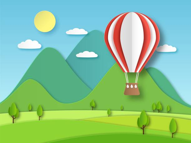 Hot air balloon paper. Origami art red flying baloon on background of mountain and trees cut vector illustration Hot air balloon paper. Origami art red flying baloon on background of mountain and trees cut vector summer craft travel design illustration hot air balloon stock illustrations