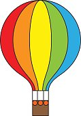 Hot air balloon rainbow colors icon, vector illustration