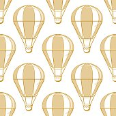 Hot air balloon seamless pattern on a white background