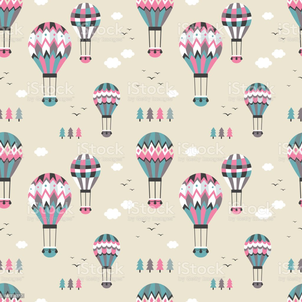 Hot air balloon seamless pattern royalty-free hot air balloon seamless pattern stock vector art & more images of abstract