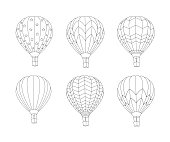 hot air balloon set in doodle inspired doodle style isolated on white. Coloring book page for adult and older children.