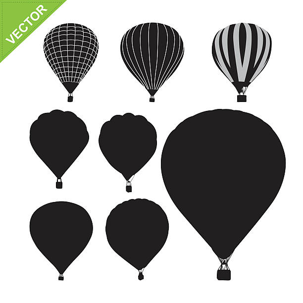Hot air balloon silhouettes vector Hot air balloon silhouettes vector hot air balloon stock illustrations