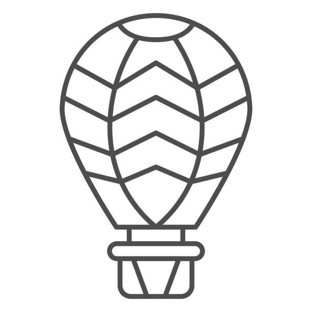 воздушный шар тонкая линия значок, воздушные шары фестиваль концепции, воздушный транспорт для путешествия знак на белом фоне, воздушный ш� - hot air balloon stock illustrations