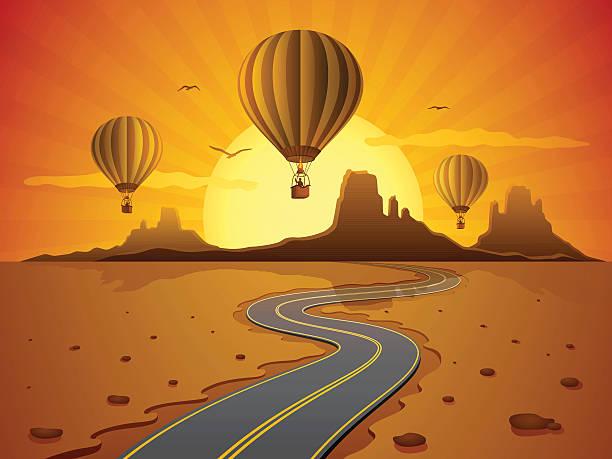 hot air balloon travel - dusk stock illustrations