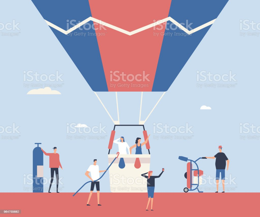 Hot air balloon trip - flat design style illustration royalty-free hot air balloon trip flat design style illustration stock vector art & more images of backgrounds