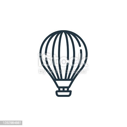 istock hot air balloon vector icon. hot air balloon editable stroke. hot air balloon linear symbol for use on web and mobile apps, logo, print media. Thin line illustration. Vector isolated outline drawing. 1252984661