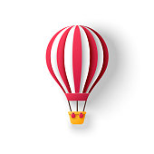 Hot air balloon in paper cut style with red stripes. Travel and explore 3d icon isolated on white background for kids birthday party design. Romantic adventure for honeymoon.