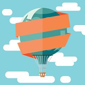 Flat illustration of hot air balloon and banner.