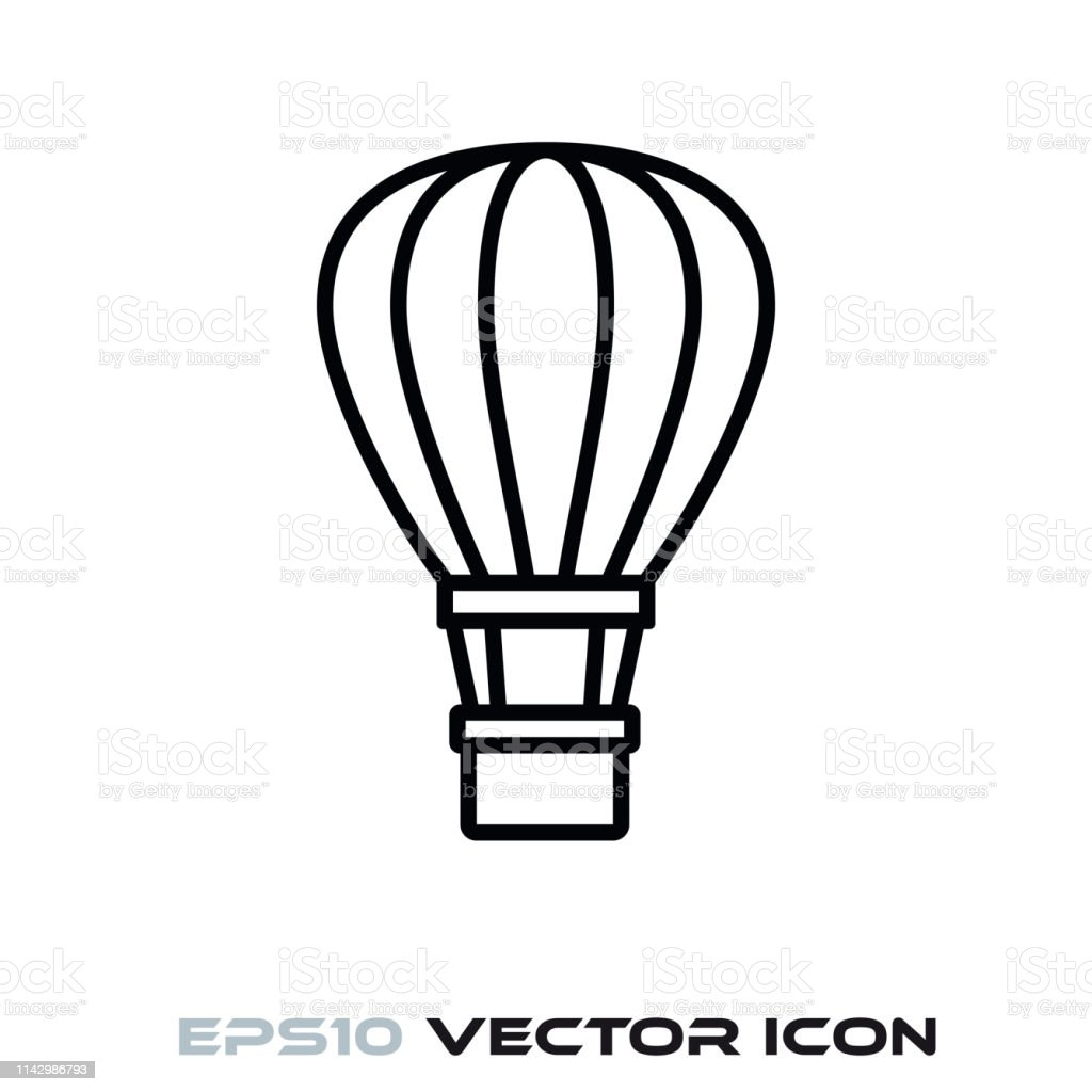 Hot Air Balloon Vector Line Icon Stock Illustration Download Image Now Istock
