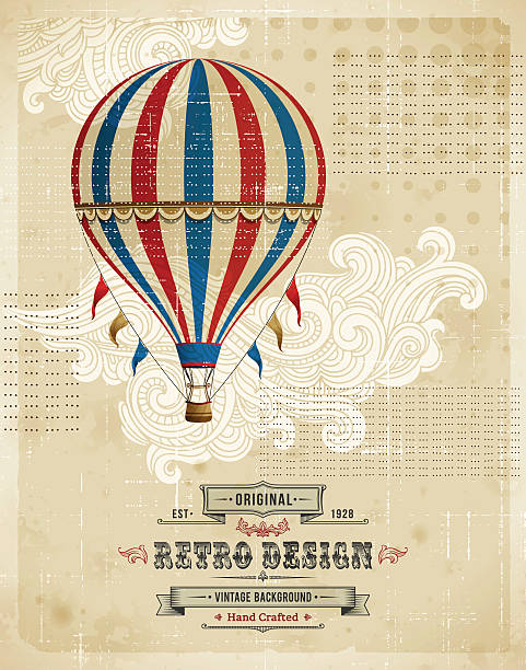 Hot Air Balloon Vintage Background Retro background.EPS 10 file contains transparencies. File is layered with global colors.High res jpeg included.More works like this linked below. hot air balloon stock illustrations