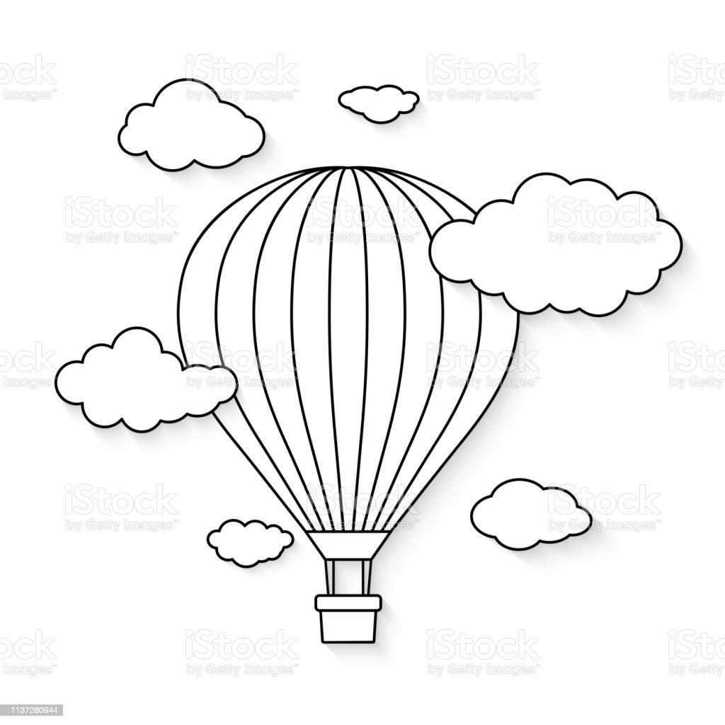 Ilustración De Globo De Aire Caliente Con Nubes Para Colorear Libro Ilustración Vectorial Y Más Vectores Libres De Derechos De Abstracto