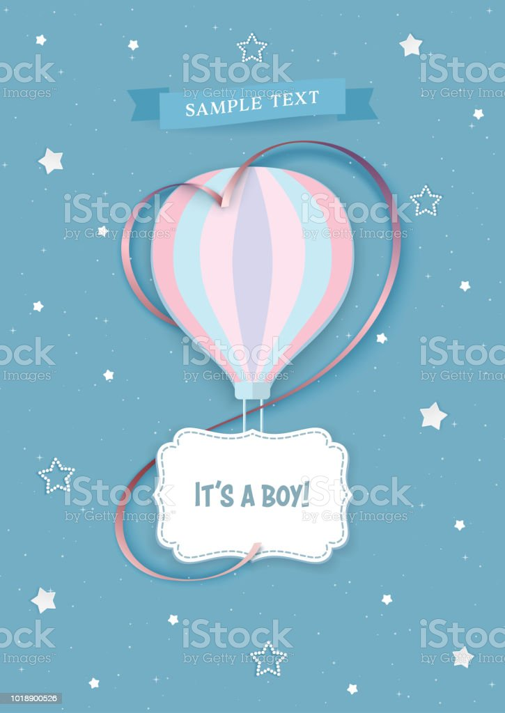 Hot Air Balloon With Decorative Frame And Satin Heart Ribbon On The