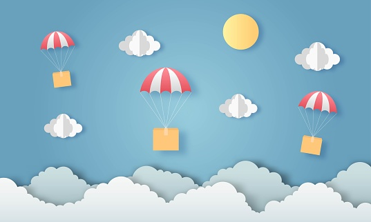Hot air balloon with delivery box. paper art style. vector Illustration.