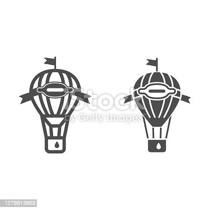 Hot air balloon with flag and basket line and solid icon, Balloons festival concept, Air transport for travel sign on white background, striped holiday balloon icon in outline style. Vector graphics