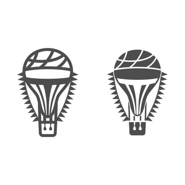воздушный шар с флагами линии и твердых значок, воздушные шары фестиваль концепции, воздушный транспорт для путешествия знак на белом фоне, - hot air balloon stock illustrations