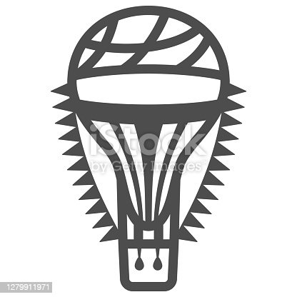 Hot air balloon with flags line icon, Balloons festival concept, Air transport for travel sign on white background, balloon icon in outline style for mobile and web design. Vector graphics