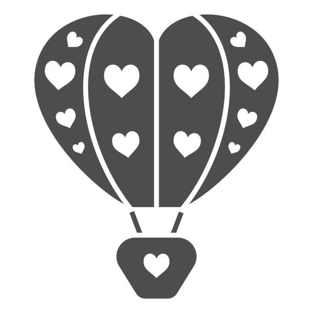 воздушный шар с сердцами твердых значок, воздушные шары фестиваль концепции, любовь путешествия знак на белом фоне, сердце формы воздушног� - hot air balloon stock illustrations