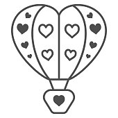 istock Hot air balloon with hearts thin line icon, Balloons festival concept, love travel sign on white background, Heart shaped air balloon icon in outline style for mobile and web. Vector graphics. 1279912873
