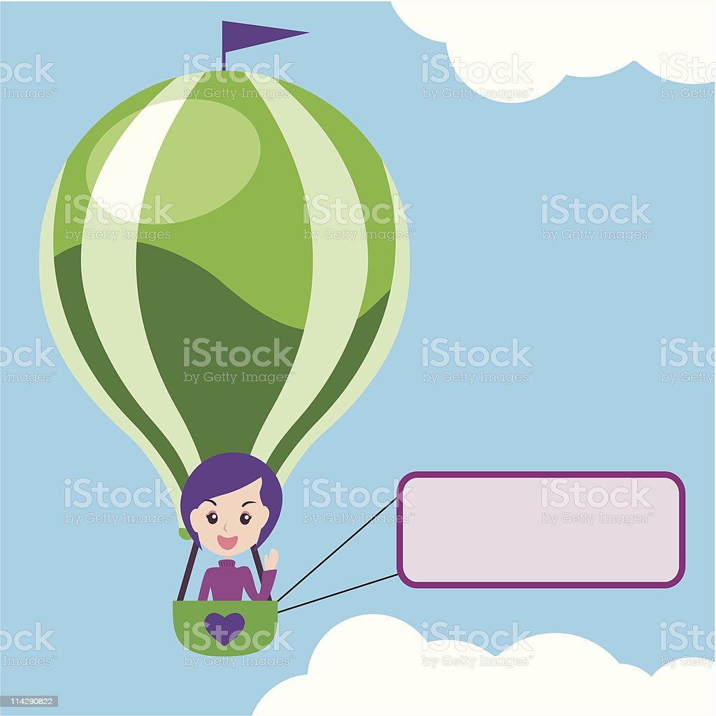 hot air balloon with message sign royalty-free stock vector art