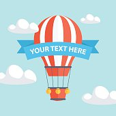 Hot Air Balloon with ribbon for your text.