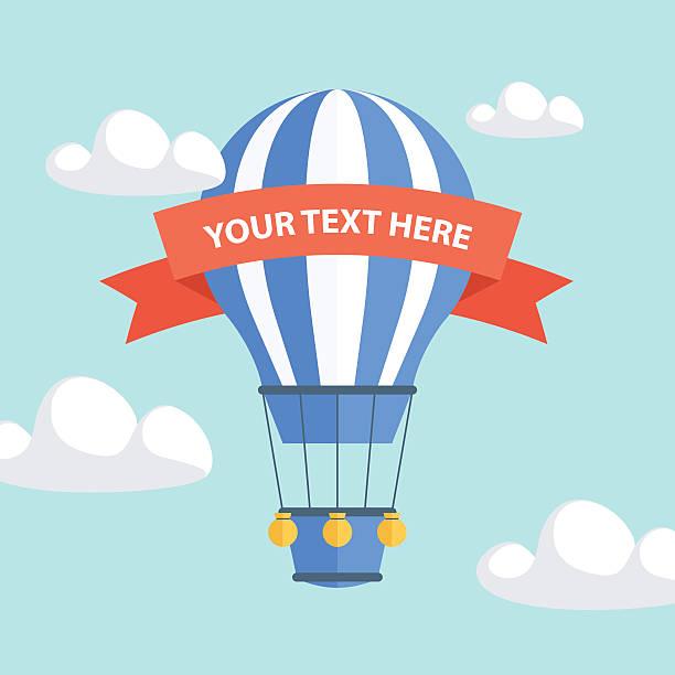 воздушный шар с лентой для вашего текста. - hot air balloon stock illustrations