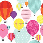 Hot air balloons seamless repeat pattern.