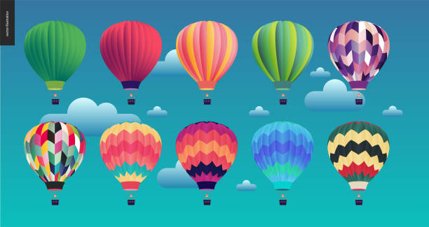 Hot air balloons Hot air balloons - set of various colored balloons in the sky with clouds hot air balloon stock illustrations