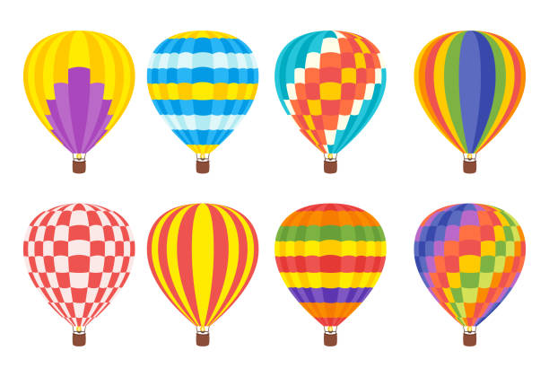hot air colorful balloon Vector cartoon style set of hot air colorful balloons. hot air balloon stock illustrations