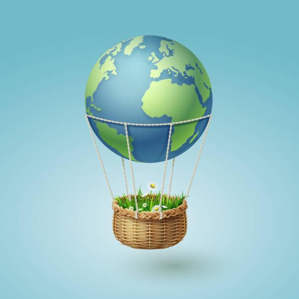 горячий воздух земной шар с травой корзины, мировой концепции устойчивого окружающей среды и экологии идея - hot air balloon stock illustrations