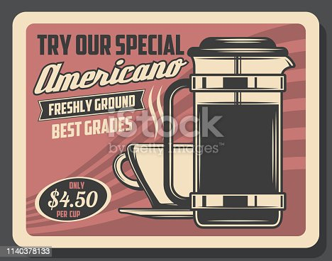 Americano coffee drinks, retro design. Vector cup of hot beverage with steam, espresso or cappuccino in mug. Energetic drink of freshly ground beans, glass pot with cover