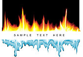 Vector background with flames and icicles