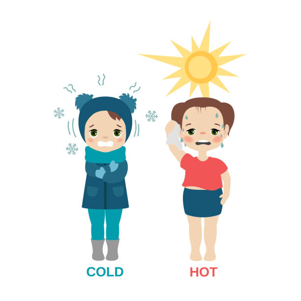 Hot and cold girl. Kid in hot and cold weather. Cartoon style illustration isolated on white background. shaking stock illustrations