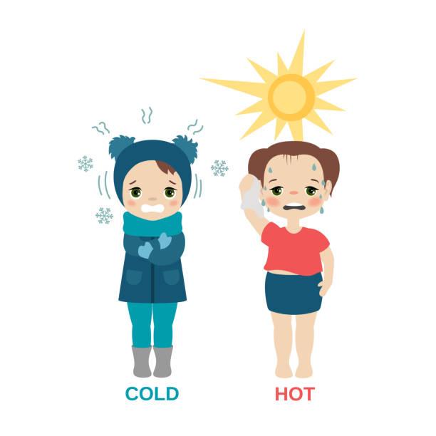 stockillustraties, clipart, cartoons en iconen met warme en koude meisje. - bevroren