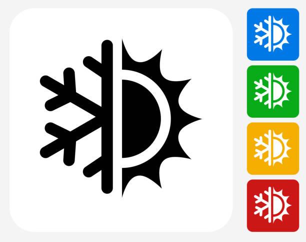 stockillustraties, clipart, cartoons en iconen met hot and cold icon flat graphic design - bevroren