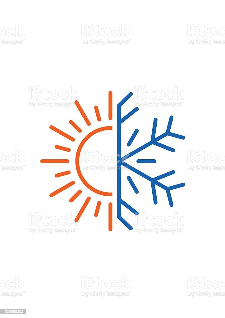 Hot and cold icon. Sun, snowflake symbol vector art illustration