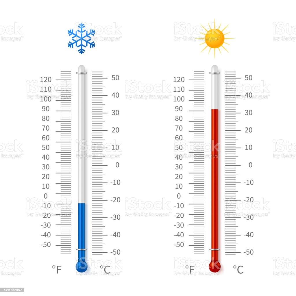 Varmt Och Kallt Väder Temperatur Symboler Meteorologi Termometrar Med Celsius Och Fahrenheit Skala Vektor Illustration vektorgrafik och fler bilder på