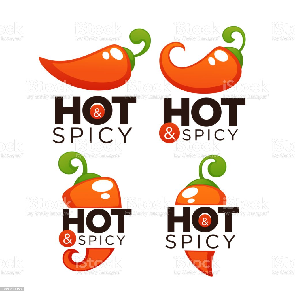 Hot and spicy chili pepper, icons and emblems, with lettering composition vector art illustration