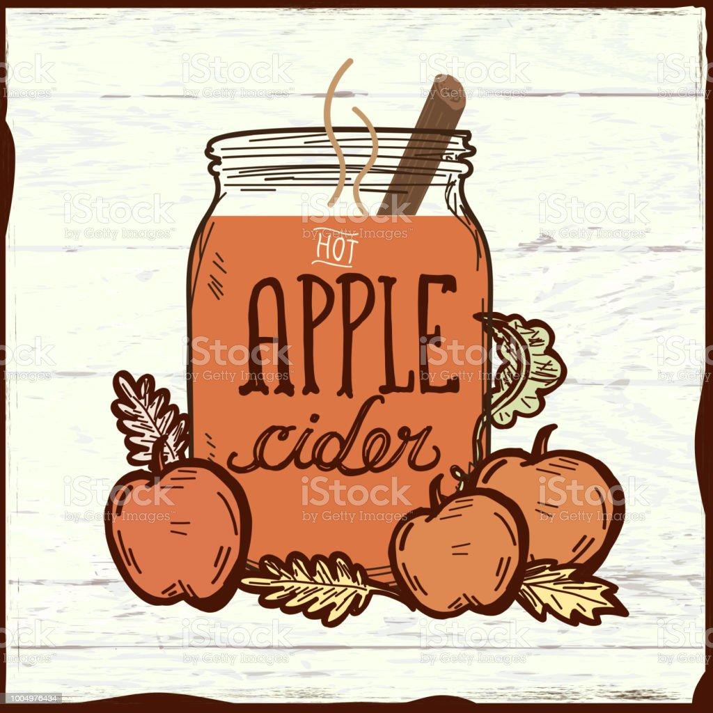 Apfelwein-Heißgetränk auf Holz Textur – Vektorgrafik