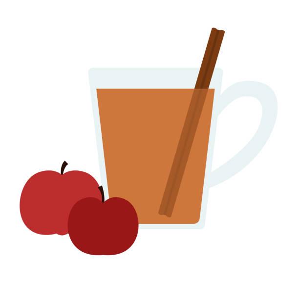 Hot apple cider vector art illustration