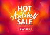 Hot Autumn Sale Brochure Design. Hand Drawn Text on Red Burning Background. Vector Poster for Special Offers.