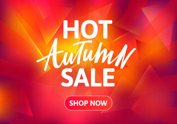 Hot Autumn Sale Brochure Design. Hot Autumn Sale Brochure Design. Hand Drawn Text on Red Burning Background. Vector Poster for Special Offers. dealing cards stock illustrations