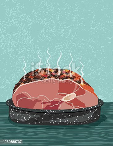 istock Hot Baked Ham Meat On A Textured Background 1272688737