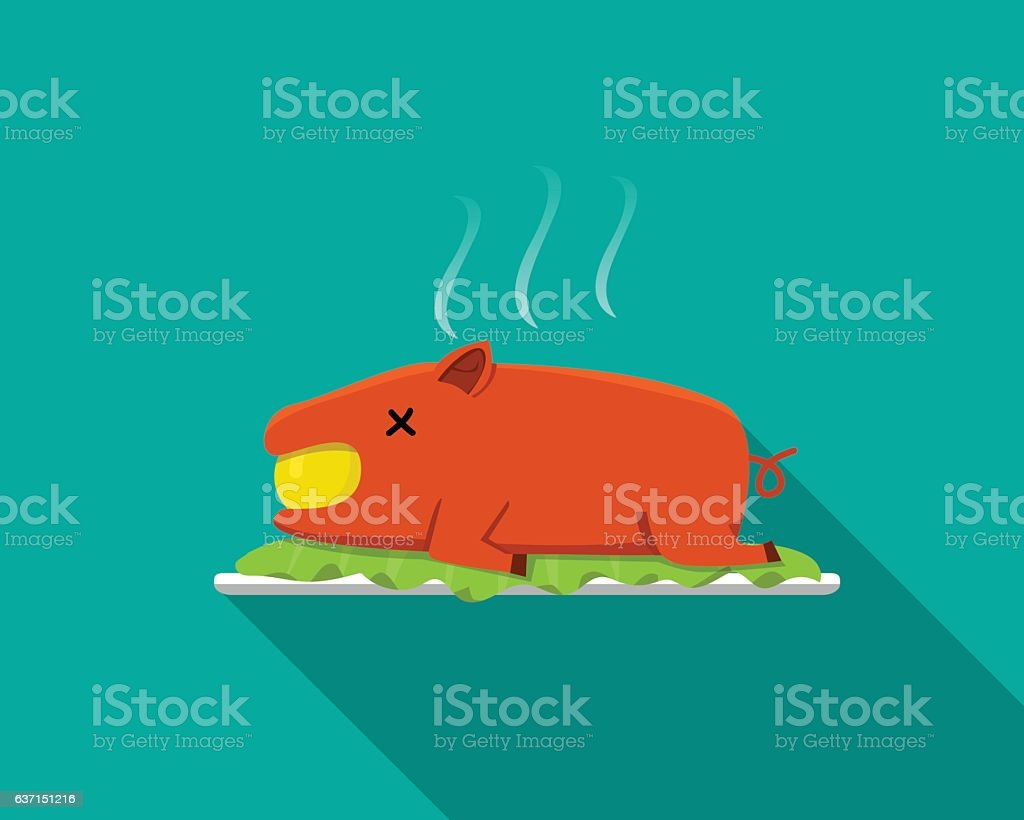 Hot Barbecue suckling pig in flat style, side view vector art illustration